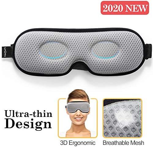 Unimi Schlafmaske mit neuem Design für Frauen & Männer, Ultradünne 3D-Lichtblockende Augenmaske, weiches Lycra-Material, 360 ° ohne blinden Winkel zum vollständigen Blockieren von Licht Schlafmaske