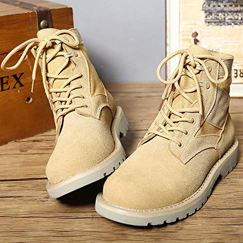 Work Safety Uomo Punta Rotonda Martin Boots Casual Boot Pelle A High Shoes Sabbia Desert Color Outdoor Army Lace Patrol Uomo Up Top Autunno WKNBEU Inverno Anti In Slip 6OCtw6qd