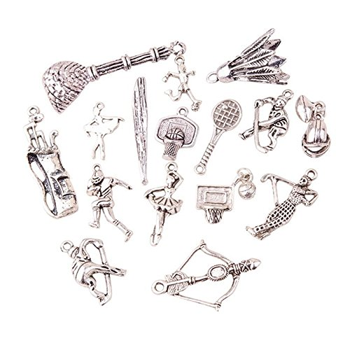 Pandahall 200g (about 130pcs) Sports Tibetan Style Antique Silver Alloy Pendants, Lead Free & Nickel Free