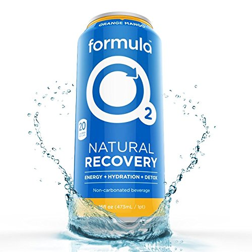 Formula O2 Natural Recovery Drink | Oxygen + Electrolytes + Caffeine | Orange Mango Flavor (12-pack)