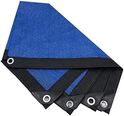 HUYYA 90%日焼け止め シェード 布 ネット、シェーディングネット ミシン目付き 遮光日よけネット 強化エッジ オーニングシェード 角補強 テラス用,Blue_2x2m/6x6ft