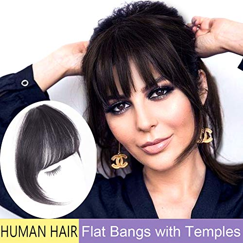 GongXiu Clip in Bangs Real Human Hair Extensions Natural Black Human Hair in Fringe Straight Flat Bangs with Temples for Women