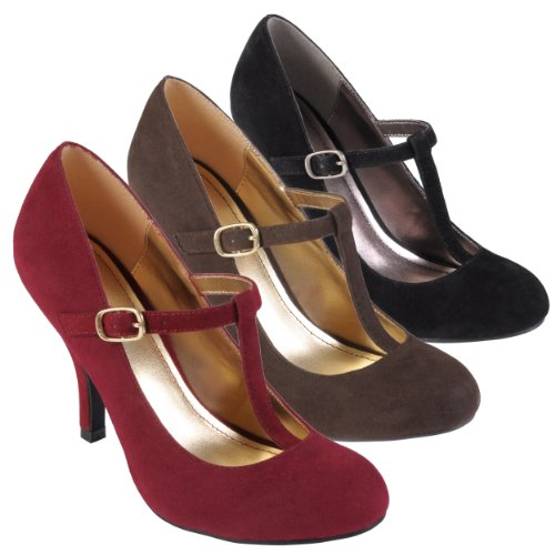 Journee-Collection-Womens-Sueded-T-strap-Round-Toe-Pumps