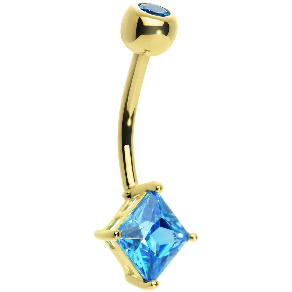 Body Candy Women's 14k Yellow Gold 6mm Bright Blue Princess Cubic Zirconia Belly Button Ring by Body Candy