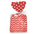 (100) Red Chevron Design on Clear 11'' Cellophane Bags