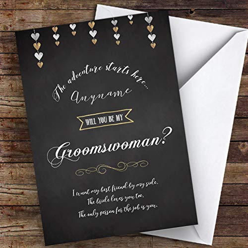Chalk Stars Will You Be My Groomswoman Personalized Greetings Wedding Card -
