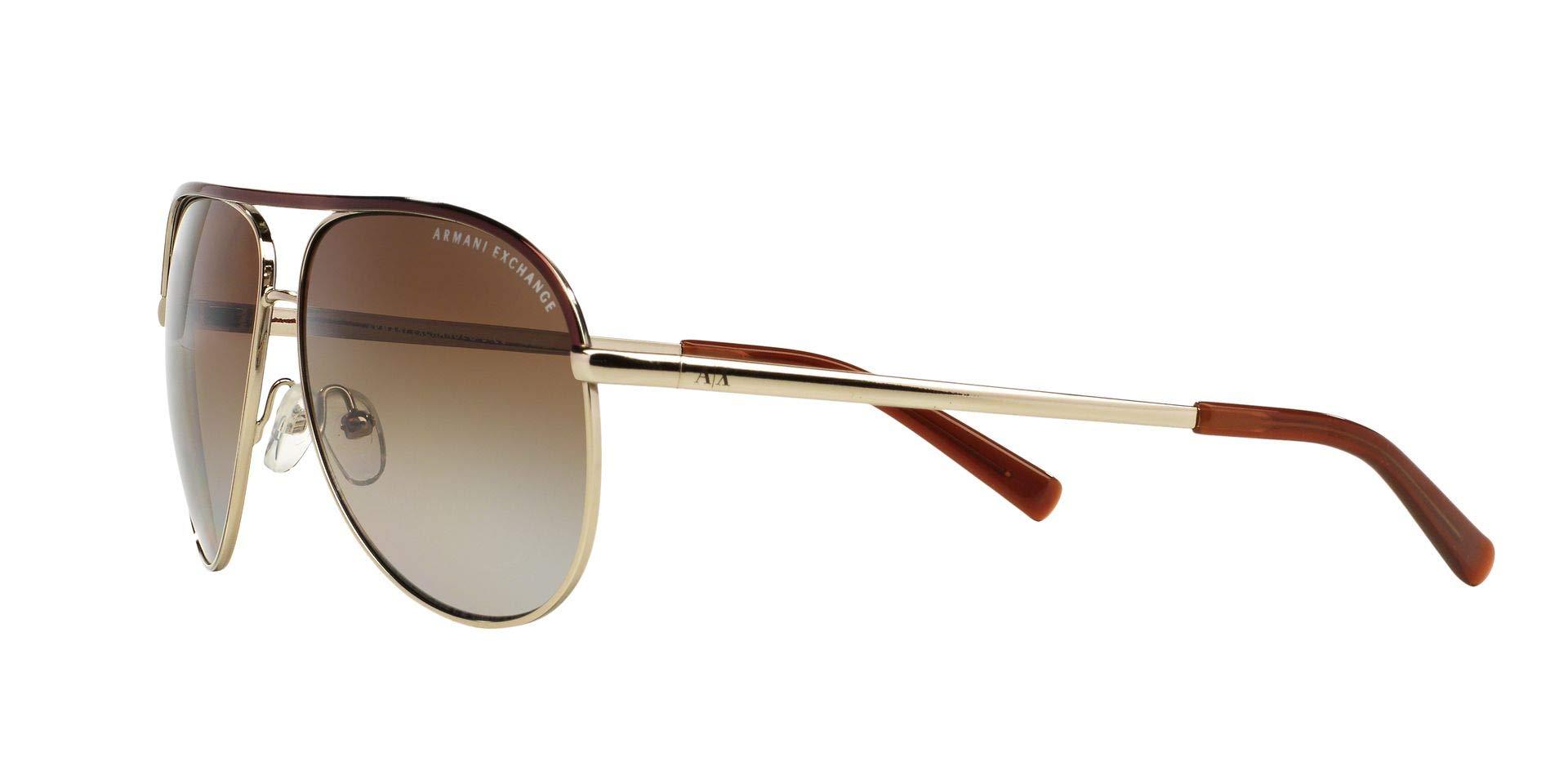 Armani Exchange Metal Unisex Polarized Aviator Sunglasses, Light Gold/Dark Brown, 61 mm by A|X Armani Exchange (Image #4)