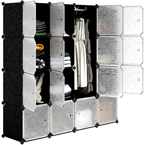 LANGRIA 16-Cube DIY Shoe Rack, Storage Drawer Unit Multi Use Modular Organizer Plastic Cabinet with Doors, Black and White Curly Pattern ()