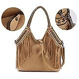 #3: Celaine Womens Handbags Tassel Cross Body Shoulder Bag Hobo Satchel - Large Storage - PU Suede Leather, Black