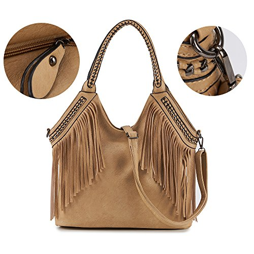 Celaine-Womens-Handbags-Tassel-Cross-Body-Shoulder-Bag-Hobo-Satchel-Large-Storage-PU-Suede-Leather-Black