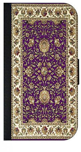 Purple Persain/Oriental Rug Iphone 5 Wallet Case with Closing Flip Cover and Credit Card Slots - Compatible with the Iphone 5 and 5S (Apple Jack Rug)