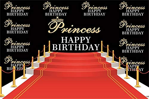 AOFOTO Red Carpet Happy Birthday Backdrop for Photography 6x4ft Stage Steps Golden Bars Background Stars Celebrity Photo Shoot Princess Women 16th 30th Bday Party Decoration Photo Studio Props -