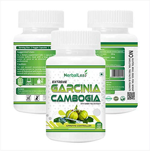 Herballeaf Extreme Garcinia Cambogia with 60% Hca   Green Tea Extract | Extrme Fat Burner   Natural Weight Controller | 60 Veg Capsules