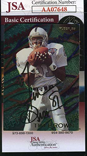 (TIM BROWN 1995 Fleer Autograph Coa Authentic Hand Signed - JSA Certified - Football Slabbed Autographed Rookie Cards)
