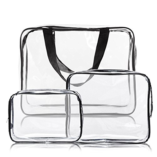 3pcs Crystal Clear Cosmetic Bag Travel Toiletry Bag Set Waterproof Packing Organizer Storage with Zipper PVC Makeup Pouch Handle Straps - Crystal Clear Cosmetics