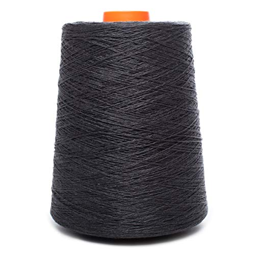 (Euroflax Linen Yarn - 100% Flax Linen - 1 LBS - Black Yarn Cone - 3 PLY - Sewing Weaving Crochet Embroidering - 3.000 Yard)