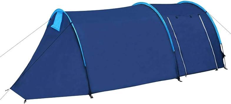 vidaXL Tienda de Campaña 4 Personas Azul Marino / Amarillo: Amazon.es: Deportes y aire libre