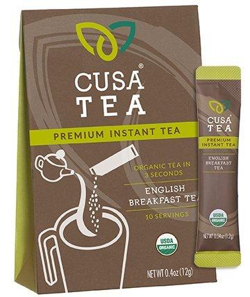 Organic English Breakfast Tea by Cusa Tea - Cold Brew Tea - Premium Organic Instant Tea - USDA Organic Certified Tea - Zero Sugar, Preservatives or Flavorings (10 servings)