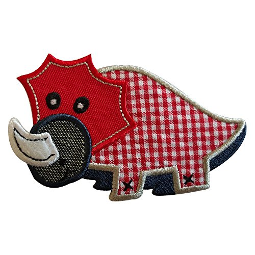 2 iron-on appliques set - Red Dino 9X6Cm and Red Dino 9X6Cm embroidered application set by TrickyBoo Design Zurich Switzerland
