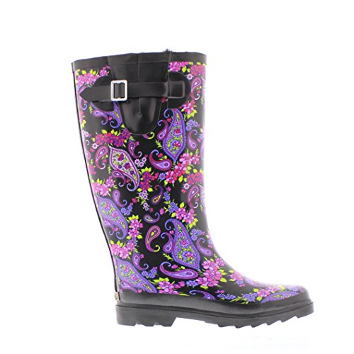 Valinda Wet Flat Women's Faux Weather Jelly Toe Rainboot Paisley Lined Gold Outdoor Insulated Fur Boots Warm Tall xAfE87wq