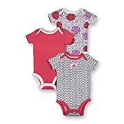 Lamaze Baby Girls Organic 3 Pack Shortsleeve Bodysuits, Pink Dot, 6M
