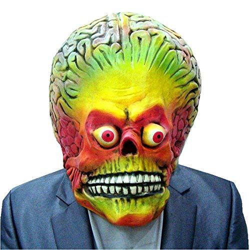 Attacks Martian Halloween Mask Full Head Latex Scary Alien Brain Party Mask UFO Mars Cosplay Costume Props