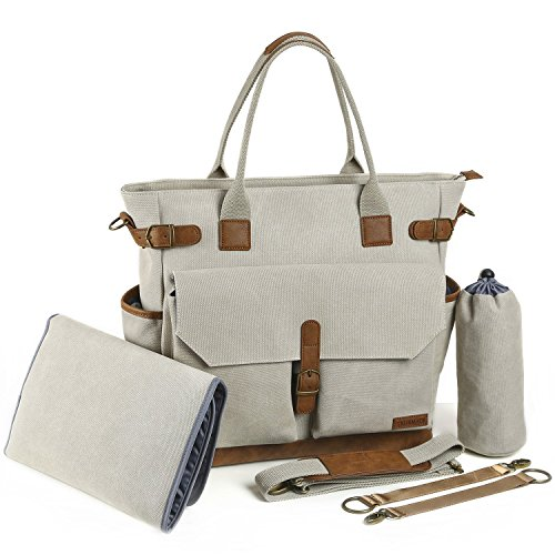 Baby Diaper Bag by Canvas Stylish Tote with Changing Pad Insulated Bottle Holder and Stroller Straps for Women