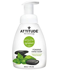 ATTITUDE Hypoallergenic Foaming Hand Soap, Green Apple & Basil, 10 Fluid Ounce