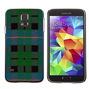 TopCaseStore / la caja del caucho duro de la cubierta de protección de la piel - Fabric Green Blue Stripes - Samsung Galaxy S5 SM-G900