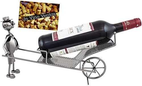 BRUBAKER Wheelbarrow s Wine Bottle Holder Stand Rack Home Kitchen Table Art...