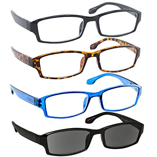 Reading Glasses Best 4 Pack_Black Tortoise Blue & Sun Readers for Men & Women_Have a Stylish Look & Crystal Clear Vision When You Need It!_Comfort Spring Arms & Dura-Tight Screws_100% - Mens Shell Glasses Tortoise