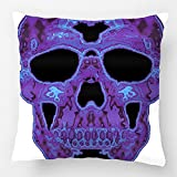 LDJ Cotton Polyester Sofa Chair Square Throw Pillow Case Decorative Cushion Cover Pillowcase Design With Mustache Day Of The Dead Sugar Skull Custom Pillow Cover Print Double Side Sized 18X18 Inches