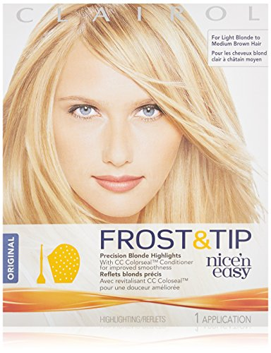 Clairol Nice n Easy Frost & Tip Original Precision Blond Highlights Hair Color Kit (Pack of 3), For Light Blond to Medium Brown - Easy Clairol Brush N Nice