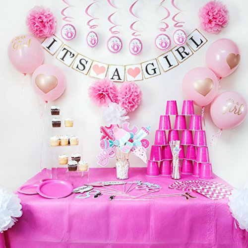 Baby Shower Decorations - It's A Girl Banner and Balloons, Pink Photo Booth Props, Elephant Theme Swirlers, Flower Decor Favors, Party Supplies Set for Girls, All In One Value Bundle