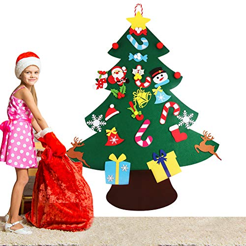 VOWOV Felt Christmas Tree Decorations Set with Ornaments - Double Stitched- Wall Hanging-Handmade 26 pcs Detachable Christmas Ornaments 3.6FT(Large)