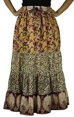 De Mujeres Puro Indianbeautifulart Seda diseño Multicolor Maxi Largo Vestido Acampanada 3 Falda nSEWS