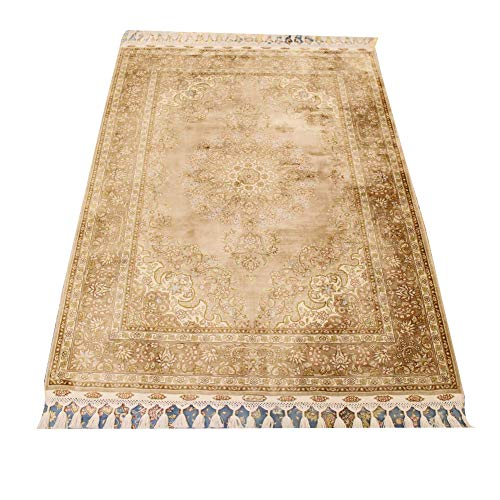 Camel Carpet 3.4'x5' Vintage Pure Hand Knotted Persian Rug Handwoven Oriental Silk Rug for Home ()