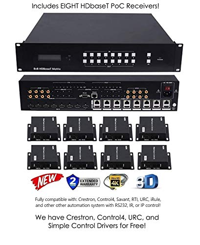- 8x16 HDbaseT 4K Matrix SWITCHER 8x8 16x16 with 8 Receivers (CAT5e or CAT6) HDMI HDCP2.2 HDTV Routing SELECTOR SPDIF Audio CONTROL4 Savant Home Automation 4K2K