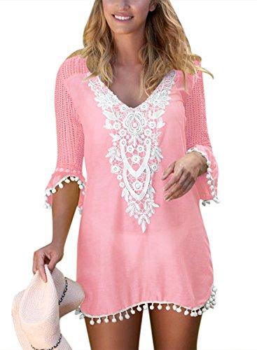 BLENCOT Women's Crochet Chiffon Tassel Swimsuit Bikini Pom Pom Trim Swimwear Beach Cover Up-Pink XX-Large ()