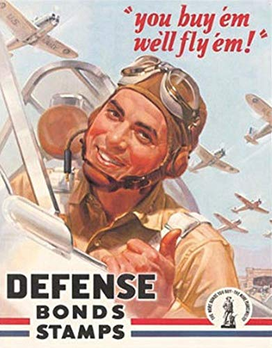 MMNGT Defense War Bonds Stamps Air Force WWII Retro Vintage Tin Sign TIN Sign 7.8X11.8 INCH