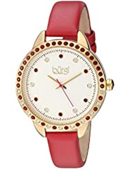 Burgi Womens Genuine Swarovski Crystal Accented White Dial and Gold-Tone Bezel with Red Genuine Leather Strap...