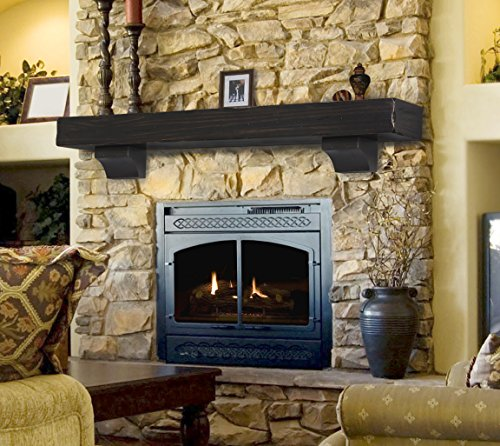 Pearl Mantels 412-72-20 The Shenandoah 72-Inch Shelf/Mantel Shelf Espresso Rustic Distressed Finish