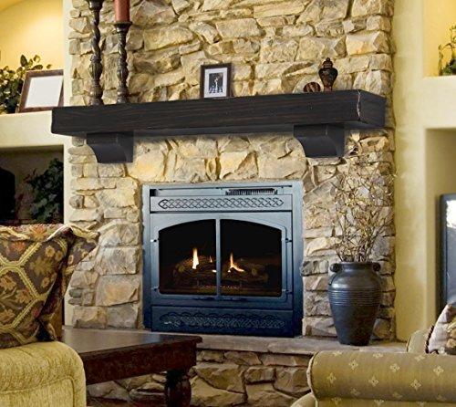 Pearl Mantels 412-72-20 The Shenandoah 72-Inch Shelf/Mantel Shelf Espresso Rustic Distressed Finish (Fireplace Floating Mantel)
