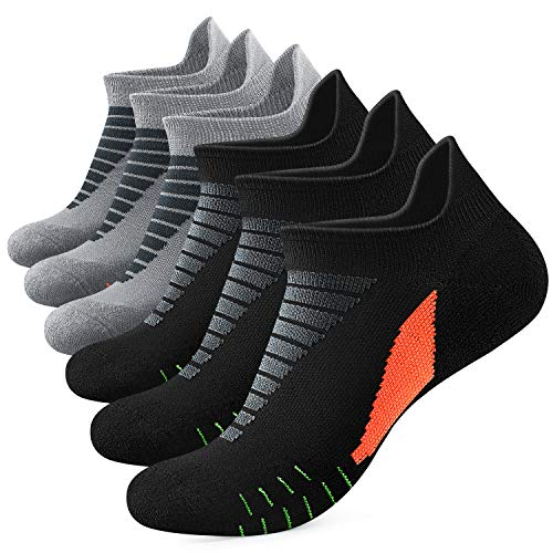 Yousu Mens Ankle Athletic Running Sport Tab Low Cut Socks for Men 6 pair Socks Cushion