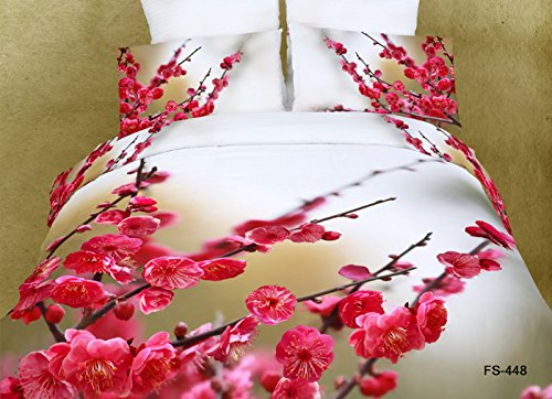 4 Piece Bedding Sets Queen Size, Carehealth Home Textile New Arrival 800-Thread-Count 3D Reative Printing 100% Cotton Bedding Ensembles with Duvet Cover, Sheet and Pillows (Splendid Pink Flowers and Bud, Suit for Girl, Teenagers and Woman, Set of 4)