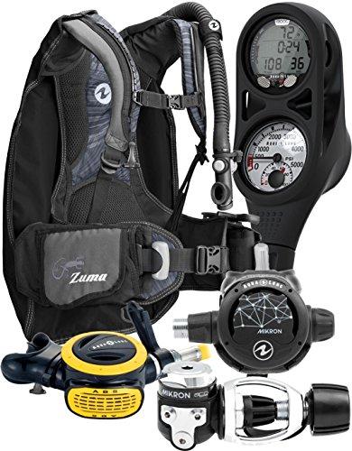 Aqua Lung Travel Scuba Gear Package Zuma BCD i300C Dive Computer Micron Reg Set, Midnight / Black ML/LG (Best Scuba Gear Packages)