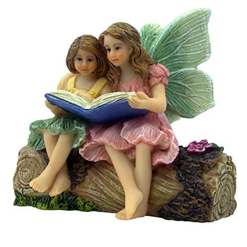 Cheap Fairy Garden Supplies (PRETMANNS Fairy Garden Fairies - Fairy Figurines - 2 Adorable Fairies Sitting on a Stump Reading a Book - Storytime Fairies - Fairy Garden Supplies 1)