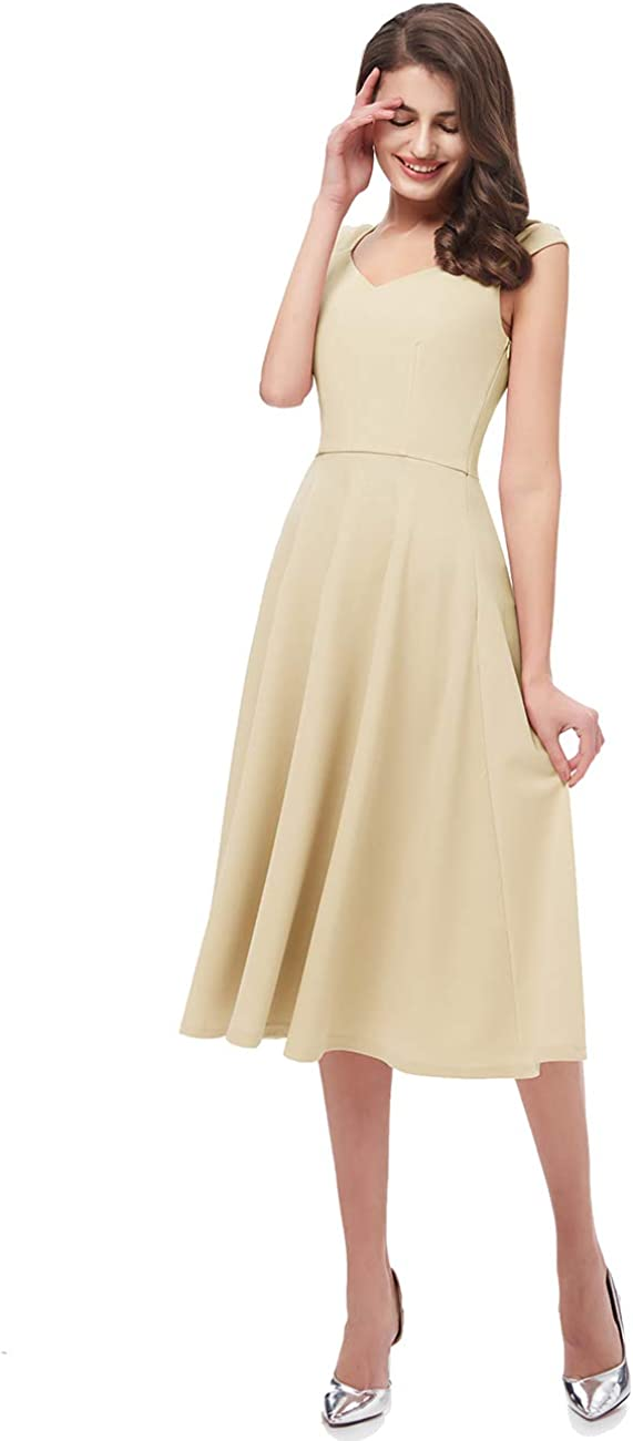 DRESSTELLS Womens Bridesmaid Vintage Tea Dress V-Neck Prom Party Swing Cocktail Dress