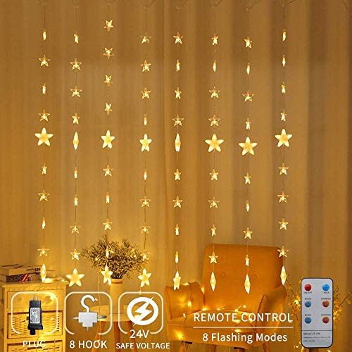 Zhuohao 80 Star Curtain Lights, Star Christmas Lights with Remote Control, 144 LEDs Window Curtain Light with 8 Flashing Modes for Christmas, Wedding, Party, Home, Indoor, Outdoor, Warm White