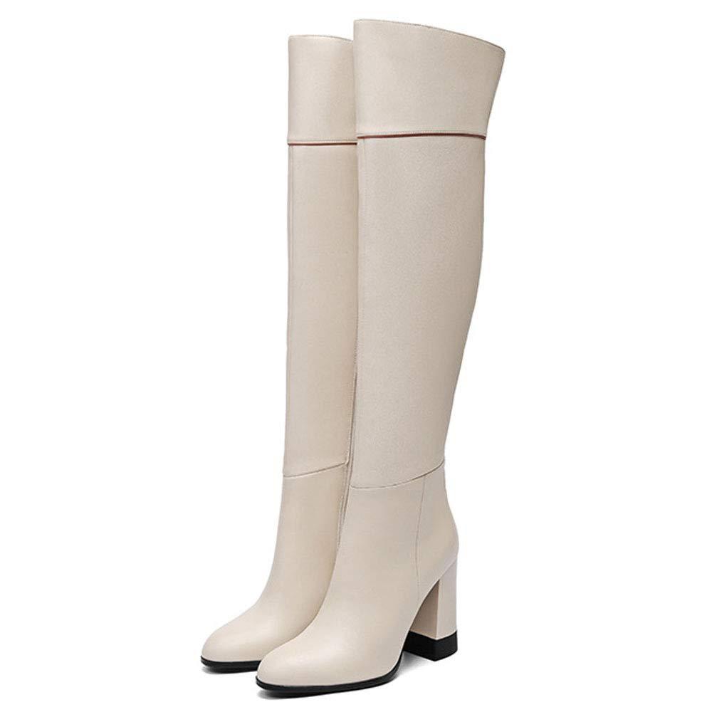 WANG-LONG Schuhe Damen Martin Leder High-Heel Lange Herbst Winter Warm Atmungsaktiv Bequem Rutschfest,Weiß-34